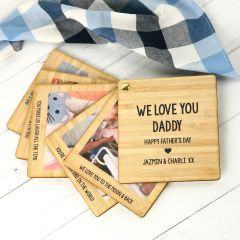 """Personalised Photo Printed """"We Love You Daddy"""" Bamboo Photo Swivel Book"""