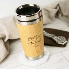 Personalised Engraved Wooden Bamboo Travel Mug Cup Father's Day Present