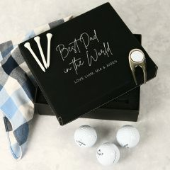 Personalised Engraved Father's Day Black Leatherette Golf Gift Set
