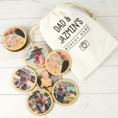 Personalised Photo Printed Wooden Round Memory Father's Day Game With customised Calico Storage Bag