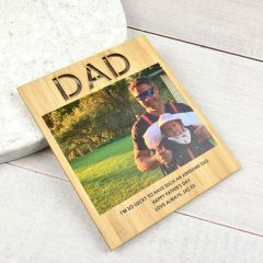 Colour printed photo and personalised Father's Day Message on a Wooden Card with Magnetic Backing Present