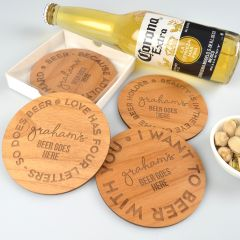 Personalised Engraved Father's Day 4 Piece Wooden Coaster Set Gift Present