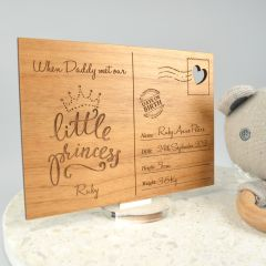 """Personalised Engraved Father's Day Wooden """"New Dad"""" Postcard with Stand"""