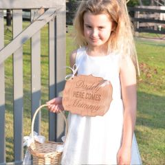 Engraved wooden ceremony Paige boy and flower girl wedding sign