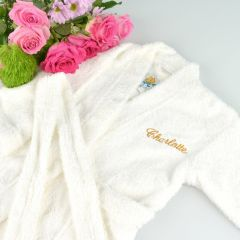 Gold Personalised Embroidered flower girls name and title on bath robe