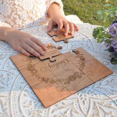 Custom designed laser cut and engraved flower girl wedding puzzle gift