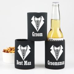 Black & White Printed Suit and Tux Groom, Best Man & Groomsman Stubby Holder Bridal Part Gift.
