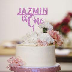 Laser Cut Glitter Pink Acrylic 1st Birthday Cake Topper