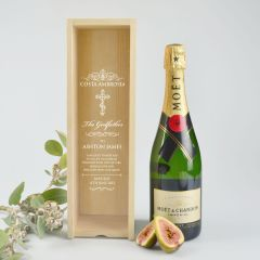 Personalised Engraved Godparent wooden wine or champagne box with clear acrylic lid