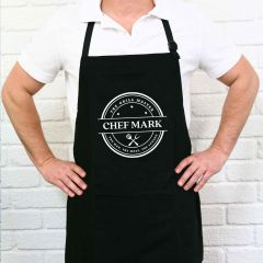 Personalised Name Printed The Grill Master Printed Black BBQ Apron