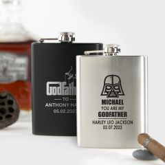 Personalised engraved Godparent's Godfather Silver and Black Hip Flask Present