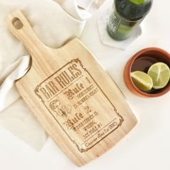Personalised Engraved 'Bar Rules' Wooden Paddle Board Present