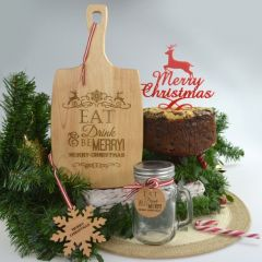 Personalised Engraved Hamper that include wooden Chopping Paddle Board, Reindeer Pudding Cake Topper, Mason Jar and Snow Flake Decoration