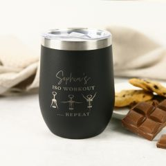 """Customised Engraved """"Isolation Workout"""" Matte Black with silver Rim Wine Sipper"""