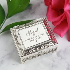 Personalised Professionally engraved bridal party jewellery box gift