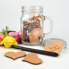 """Personalised Engraved """"30 reasons why I love you"""" Mason Jar with 30 laser cut Wooden Hearts inside present"""