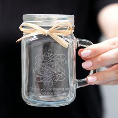 Engraved Wedding Mason Jar