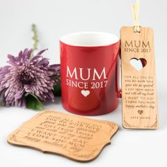Personalised Engraved Mother's Day 'Relax' Hamper- Wooden bookmark, Mug & wooden Plaque
