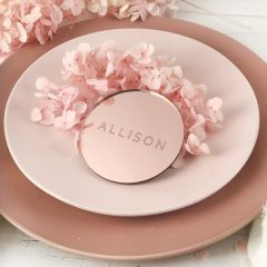 Personalised Engraved Round Mirror Rose Gold Acrylic Wedding Reception Place Cards