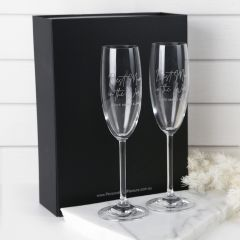 Personalised Engraved Twin Mother's Day Champagne Glasses Present