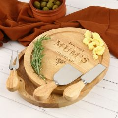 Personalised Engraved Wooden Mother's Day 3 Piece Cheese Knife Set and Serving Board Present