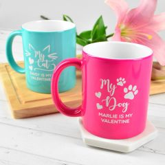 Personalised Engraved Aqua and Pink Pet lover Valentine's Day Coffee Mugs Present
