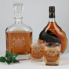 Personalised Engraved Christmas Premium Decanter With two Scotch Glasses Gift Set Present