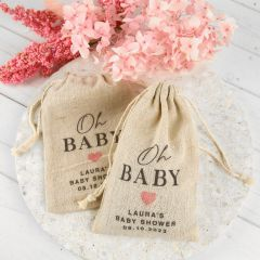 Personalised Colour Printed Baby Shower Calico Drawstring Bags