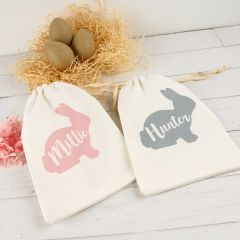 Personalised Printed Calico Easter Drawstring Bag