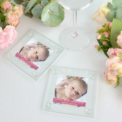 Birth Announcement Printed Glass Coaster