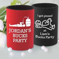 """Printed """"I got Pissed at [groom's] Buck's Party""""  Stubby Holders Favours"""