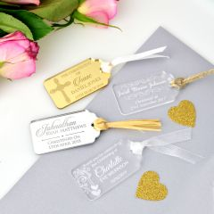 Personalised Engraved Gold, Silver, clear & Frosted Rectangle Acrylic Christening Gift Tag Favours