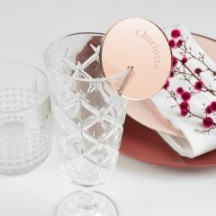 Personalised Engraved Round Rose Gold Place Card for Wine Glasses