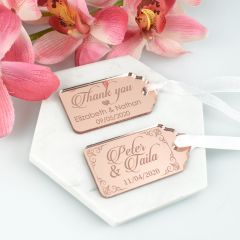 Personalised Engraved Mirror Rose Gold Acrylic Rectangle Wedding Favour Gift Tags