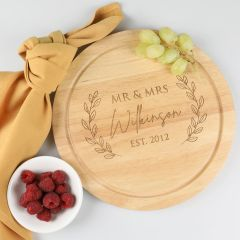 Personalised Engraved Round Wedding Wooden Cheese Board Present