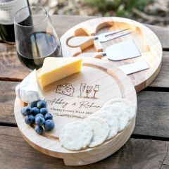 Personalised Engraved Valentine's Day Round Wooden Cheese Board with Cheese Knife Set