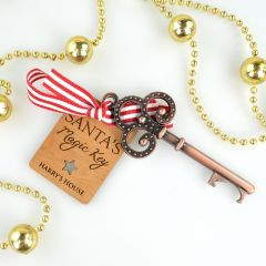 Personalised Santa's magic Key Bottle Opener and Engraved Wooden Christmas Tag Present