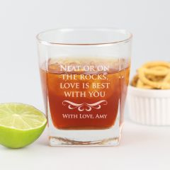 """Personalised Engraved """"Neat or on the rocks"""" Valentine's Day Scotch glass Present"""