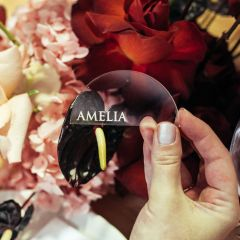 Personalised Engraved Clear Acrylic Semi-Circle Wedding Reception Place Card