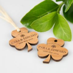 Personalised laser cut and Engraved Wooden Shamrock good luck Gift Tags
