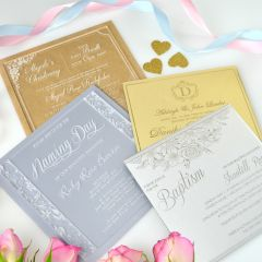 Customised Engraved Square Clear, Frosted, Gold & Silver Acrylic Christening Invitations