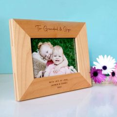 Personalised Engraved Wooden Square Edge Photo Frame Birthday Present