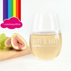 Personalised Engraved Same Sex Wedding Stemless Wine Glasses Favours or Bridal Party Gifts