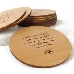Engraved Student Graduation Round Wooden Coasters Set of 10