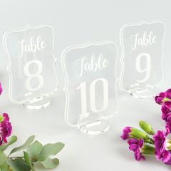 Clear Acrylic Wedding Reception Table Numbers with Stand