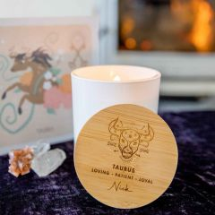 Personalised Engraved Wooden Lid Zodiac Soy Candle Taurus with Wood Wick