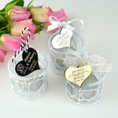 Rustic Birdcage Tealight Candle Holders With Engraved Acrylic Gift Tag
