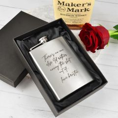 Personalised Engraved Silver Valentine's Day Hip flask