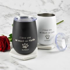 Personalised Engraved Black and White Stainless Steel Stemless Wine Sipper with Lid Valentine's Day Gift