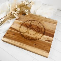 Engraved Custom designed bride and groom wedding cheese board present